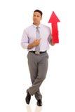 Homme d'affaires dirigeant le symbole de flèche Photos stock
