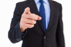 Homme d'affaires dirigeant son doigt à l'appareil-photo Photos stock