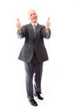 Homme d'affaires donnant des pouces vers le haut de signe avec les deux mains Image stock