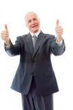Homme d'affaires donnant des pouces vers le haut de signe avec les deux mains Image libre de droits