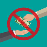 Homme d'affaires donnant l'argent à la main anti corruption Photo stock