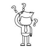 Homme d'affaires drôle avec l'icône de caractère de série de doute illustration libre de droits