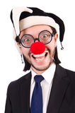 Homme d'affaires drôle de clown d'isolement Photographie stock libre de droits