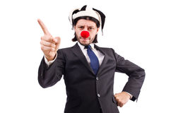 Homme d'affaires drôle de clown d'isolement Image stock