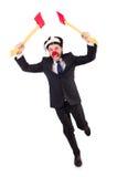 Homme d'affaires drôle de clown d'isolement Images stock