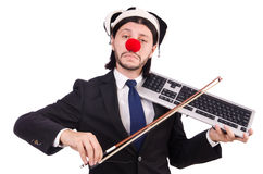 Homme d'affaires drôle de clown d'isolement Photos stock
