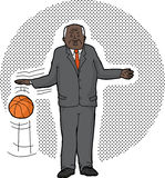Homme d'affaires Dribbling Basketball Illustration Stock