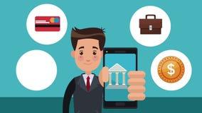 Homme d'affaires employant l'animation de l'application HD de banque banque de vidéos