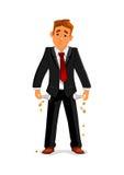 Homme d'affaires en faillite avec les poches vides illustration stock