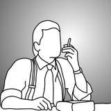 Homme d'affaires en gros plan avec des bretelles ou des accolades fumant la cigarette illustration de vecteur