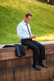 Homme d'affaires en nature Image stock