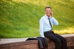 Homme d'affaires en nature Images stock