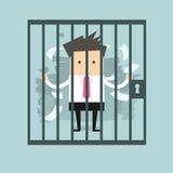 Homme d'affaires en prison Photographie stock libre de droits