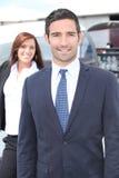 Homme d'affaires en un aéronef léger Photo stock