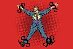 Homme d'affaires enchaîné dans les règles juridiques, paragraphes comme chaîne illustration libre de droits