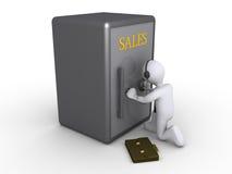 Homme d'affaires essayant d'obtenir des ventes Images stock