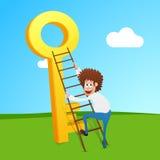 Homme d'affaires essayant de s'élever sur la clé de succès illustration libre de droits
