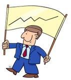 Homme d'affaires et bannière de bande dessinée avec le diagramme Photo libre de droits
