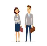 Homme d'affaires et femme - composition en caractères plate moderne de personnes de conception illustration stock
