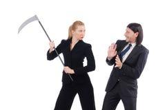 homme d'affaires et femme d'affaires d'isolement sur le blanc Photos libres de droits