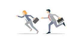 Homme d'affaires et femme d'affaires dans la concurrence de précipitation courue illustration stock