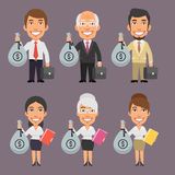 Homme d'affaires et femme d'affaires Holding Money Bag illustration stock