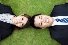 Homme d'affaires et femme des affaires couple.happy Image stock