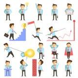 Homme d'affaires et illustration de vecor de travail d'affaires illustration stock