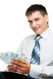 Homme d'affaires et l'euro et les roubles photographie stock