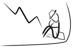 Homme d'affaires et marché boursier en baisse photographie stock libre de droits