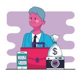 Homme d'affaires et marketing en ligne Illustration Stock