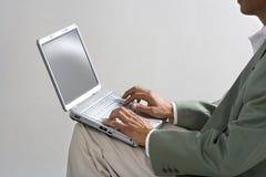 Homme d'affaires et ordinateur portatif images stock