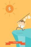 Homme d'affaires et soleil d'argent illustration de vecteur