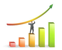 Homme d'affaires et statistiques positives Image stock