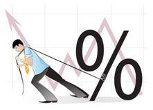 Homme d'affaires et un signe de pour cent illustration stock