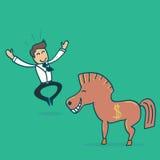 Homme d'affaires et un Trojan Horse Photo libre de droits