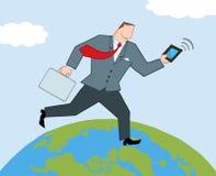 Homme d'affaires exécutant sur un globe illustration libre de droits