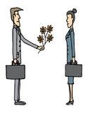 Amour/homme d'affaires d'affaires donnant des fleurs Illustration de Vecteur