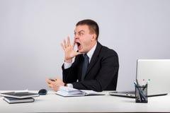Homme d'affaires fâché criant sur le fond gris Photographie stock