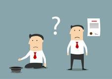 Homme d'affaires faillite entre le contrat et la pauvreté illustration libre de droits