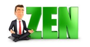 homme d'affaires 3d faisant la méditation à côté du zen de mot Images libres de droits
