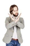 Homme d'affaires faisant le signe d'arrêt avec la main émotions et les gens concentrés Photographie stock