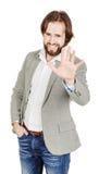 Homme d'affaires faisant le signe d'arrêt avec la main émotions et les gens concentrés Photo stock