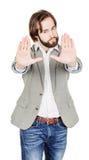 Homme d'affaires faisant le signe d'arrêt avec la main émotions et les gens concentrés Images stock