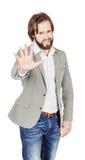 Homme d'affaires faisant le signe d'arrêt avec la main émotions et les gens concentrés Photographie stock libre de droits
