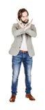 Homme d'affaires faisant le signe d'arrêt avec la main image sur un studio blanc Photo stock