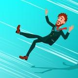 Homme d'affaires Falling Down Vector Miskate, faillite, crise économique Automne d'affaires au fond ENDETTEMENT tomber illustration stock