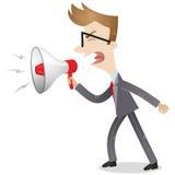 Homme d'affaires fâché hurlant dans le mégaphone Photos stock