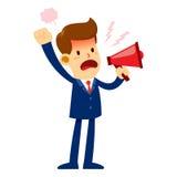 Homme d'affaires fâché Yelling Through un haut-parleur bruyant Photos libres de droits