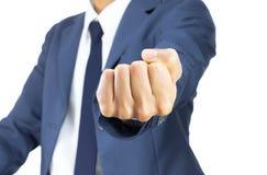 Homme d'affaires Fist Isolated sur le fond blanc sur la vue horizontale Image libre de droits